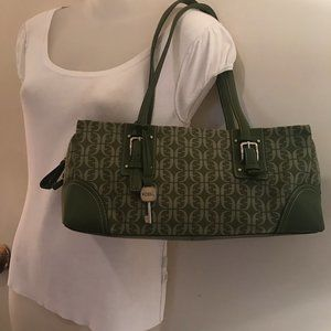 Green Fossil Canvas with Leather Trim - Beautiful!